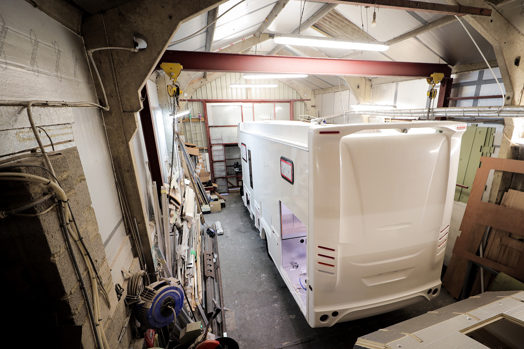 RC Motorhome mid-build in the workshop